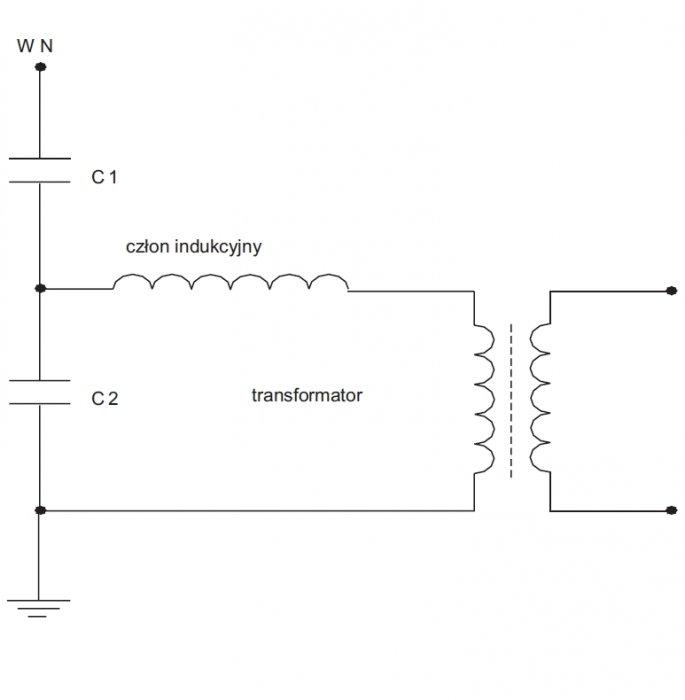 rys 4 schemat przekladnika napieciowego pojemnosciowego