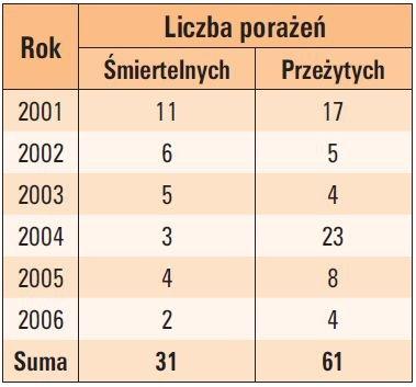 tab 3 liczba wszystkich osob porazonych piorunem na podstawie danych z gw