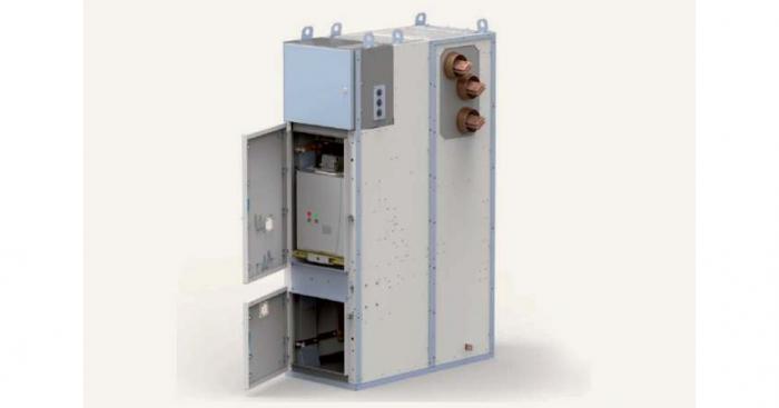Fot. Czteroprzedziałowa rozdzielnica o izolacji powietrznej typu RELF z pojedynczym układem szyn zbiorczych, na napięcie znamionowe do 40,5 kV prod. ZPUE SA