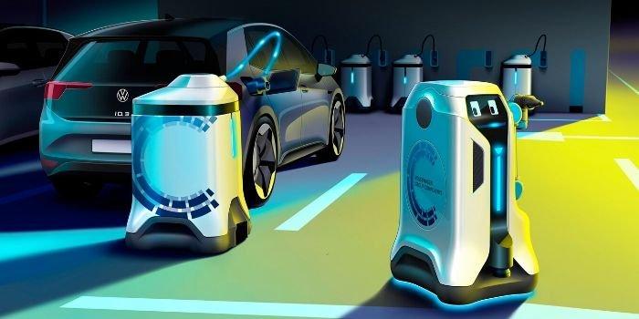 Robot mobilny do ładowania samochodów elektrycznych, fot. Volkswagen