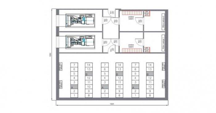 Rys.1. Rozmieszczenie poszczególnych urządzeń i szaf typu RACK na podkładzie architektonicznym [34]