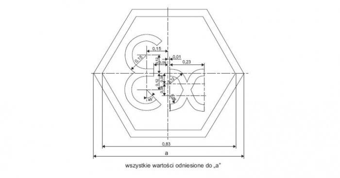 Rys. 2. Kształt i wymiary oznaczenia symbolu Ex