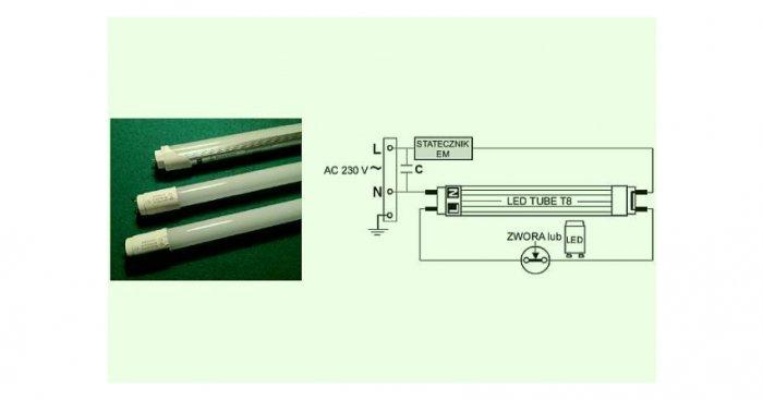 Tuby LED i schemat elektryczny ich podłączenia w oprawie oświetleniowej [2] rys. archiwum autora