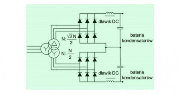 Rys. 1. Prostownik szeregowy 12-pulsowy zasilany transformatorem typu Yyd Rys. J. Szymański