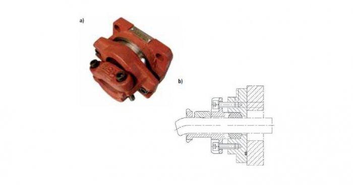 Wpusty kablowe budowy EExd przeznaczone są do wprowadzenia kabli lub przewodów elektrycznych do wnętrza osłony ognioszczelnej produkcji firmy Damel: a) widok ogólny, b) przekrój [12]