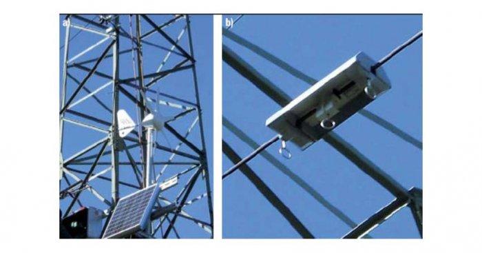 Elementy systemu DOL: a) układ pomiaru warunków pogodowych oraz transmisji danych, b) miernik temperatury i prądu MTP