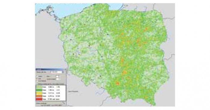 Przykładowa mapa gęstości powierzchniowej udarów na obszarze Polski (Ng) w 2006 roku [1], gdzie: jasnozielony – 0≤Ng≤0,99, zielony – 1≤Ng≤1.99, żółty – 2≤Ng≤2,99, brązowy – 3≤Ng≤3,99, czerwony – Ng≥4