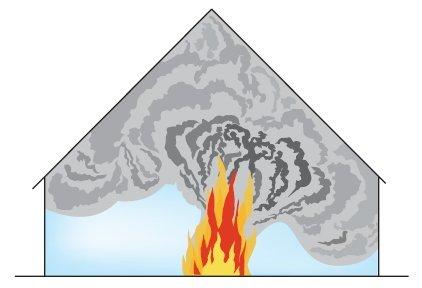rys 1 nagromadzenie dymu i ciepla w budynku w ktorym brak jest instalacji oddymiajacej 1