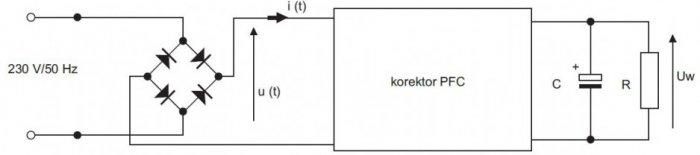 rys 1 uklad wejsciowy zasilacza wraz korektorem wspolczynnika mocy