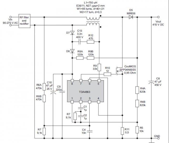 rys 5 schemat aplikacyjny ukladu tda4863 firmy infineon 2