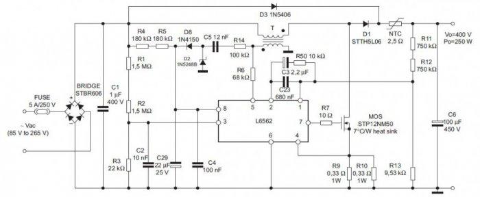 rys 6 korektor wspolczynnika mocy na ukladzie l6562 o mocy wyjsciowej 250 w 3
