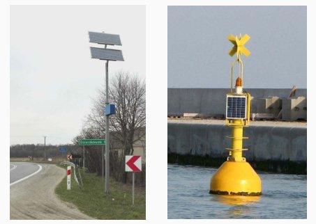 Fot. 1-2. Przykładowe instalacje autonomiczne zasilane energią słoneczną; fot. G. Mazurek