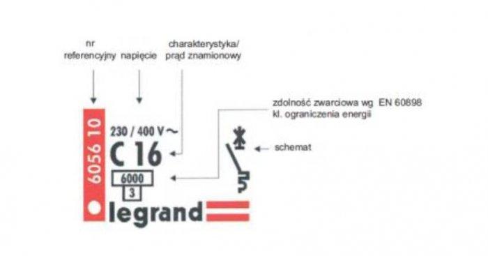 Przykład oznaczenia wyłącznika nadmiarowo-prądowego S 301. Pod umieszczoną w prostokącie znamionową zwarciową zdolnością łączenia