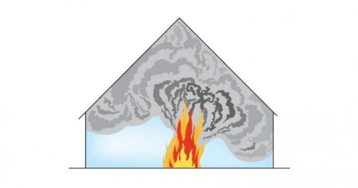 Nagromadzenie dymu i ciepła w budynku, w którym brak jest instalacji oddymiającej