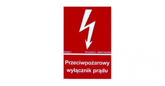 Znak graficzny informujący o lokalizacji przeciwpożarowego wyłącznika prądu arch. redakcji
