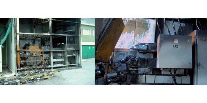 Pomieszczenie bateryjne zasilacza UPS po wybuchu wodoru spowodowanego prądem zwarciowym