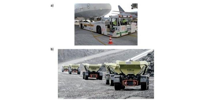 Rys. Maszyny robocze z autonomicznym napędem elektrycznym: a) ciągnik/holownik lotniskowy [3], b) autonomiczne transportery kruszyw [4]
