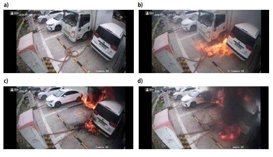 Pożar stacji ładowania